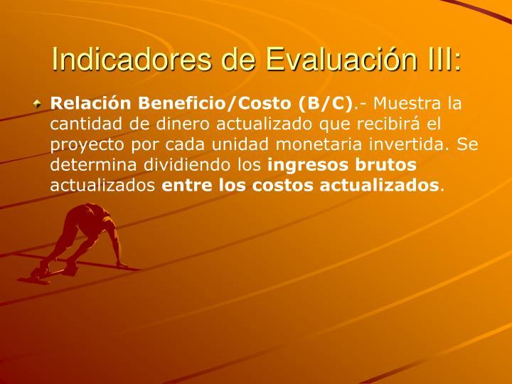 Indicadores de Evaluación III: