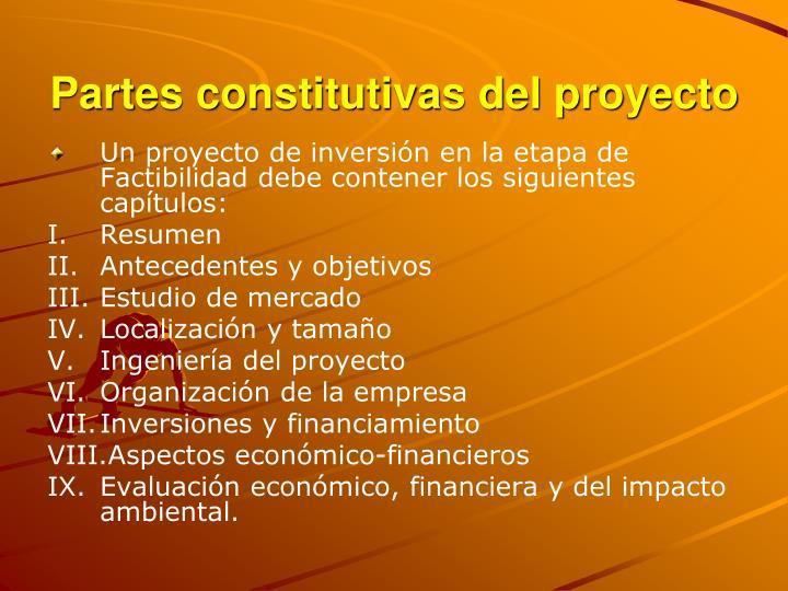 Partes constitutivas del proyecto