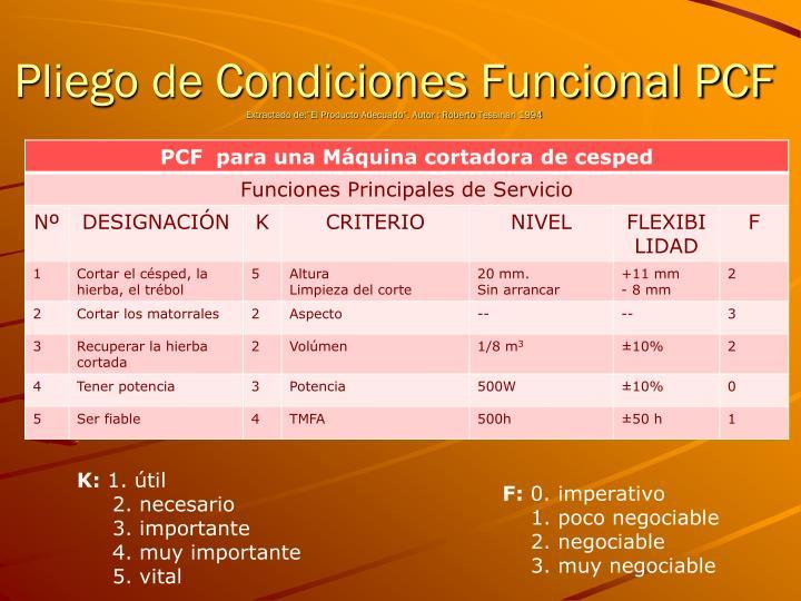Pliego de Condiciones Funcional PCF