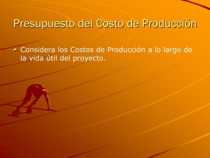 Presupuesto del Costo de Producción