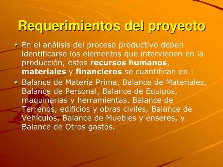 Requerimientos del proyecto
