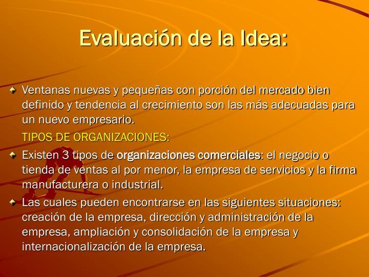 Evaluación de la Idea: