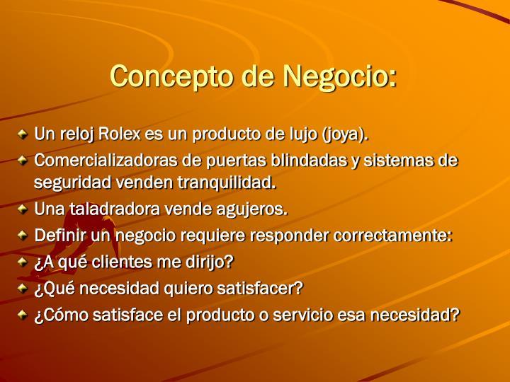 Concepto de Negocio: