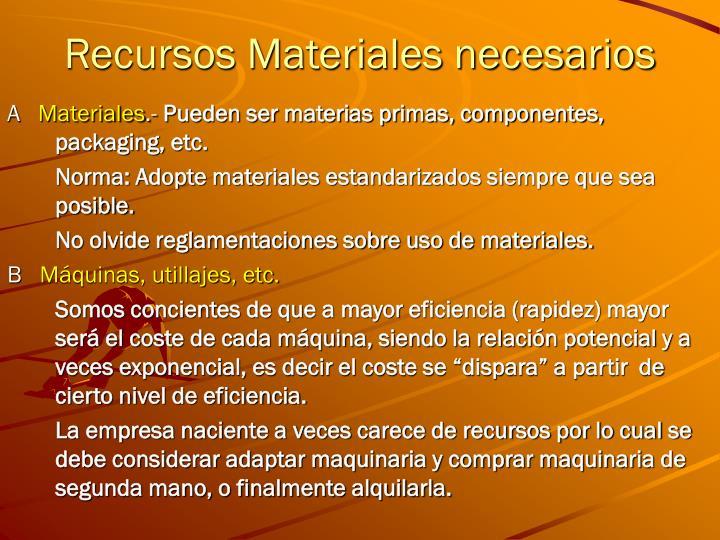 Recursos Materiales necesarios