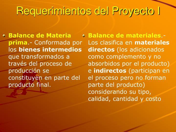 Requerimientos del Proyecto I