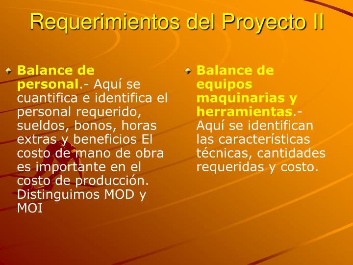 Requerimientos del Proyecto II