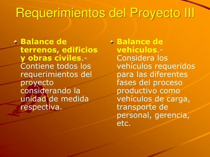 Requerimientos del Proyecto III