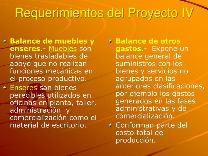 Requerimientos del Proyecto IV