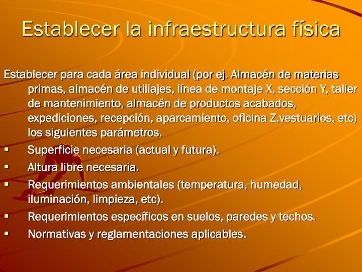 Establecer la infraestructura física