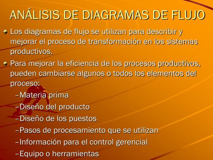 ANÁLISIS DE DIAGRAMAS DE FLUJO