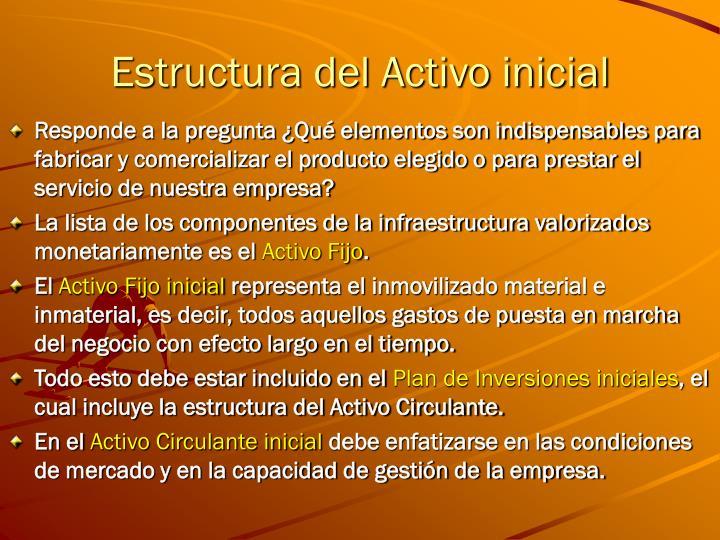 Estructura del Activo inicial