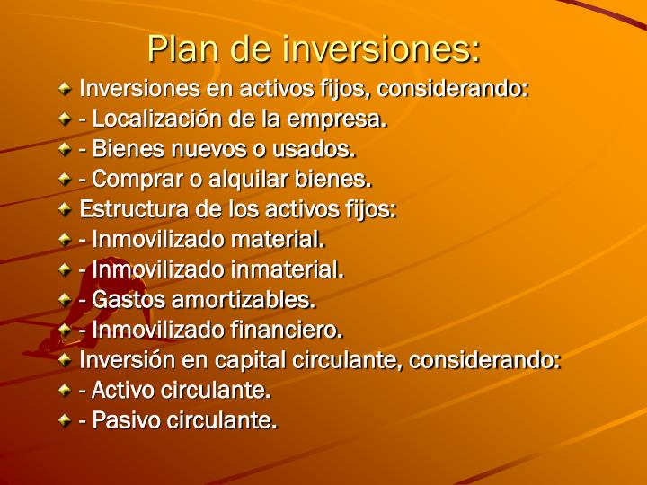 Plan de inversiones: