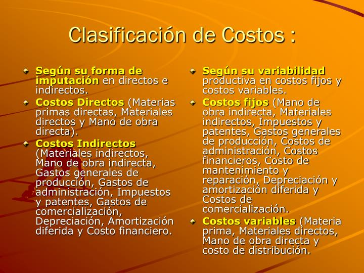 Clasificación de Costos :