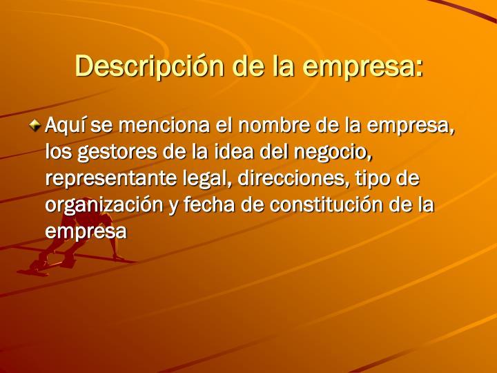 Descripción de la empresa: