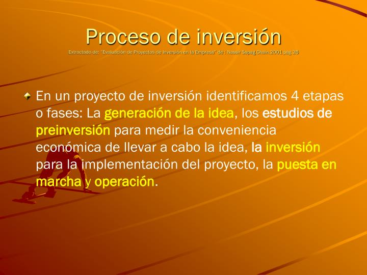 Proceso de inversión