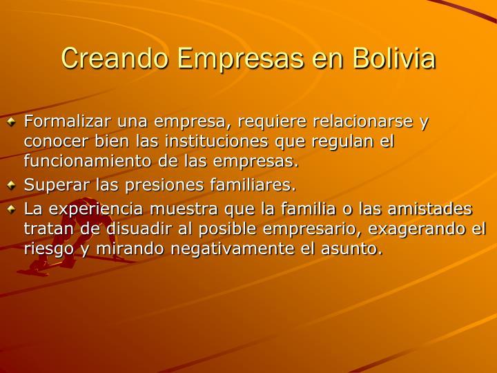 Creando Empresas en Bolivia
