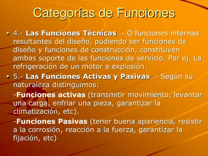 Categorías de Funciones