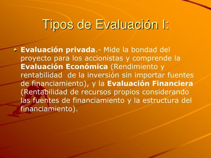 Tipos de Evaluación I: