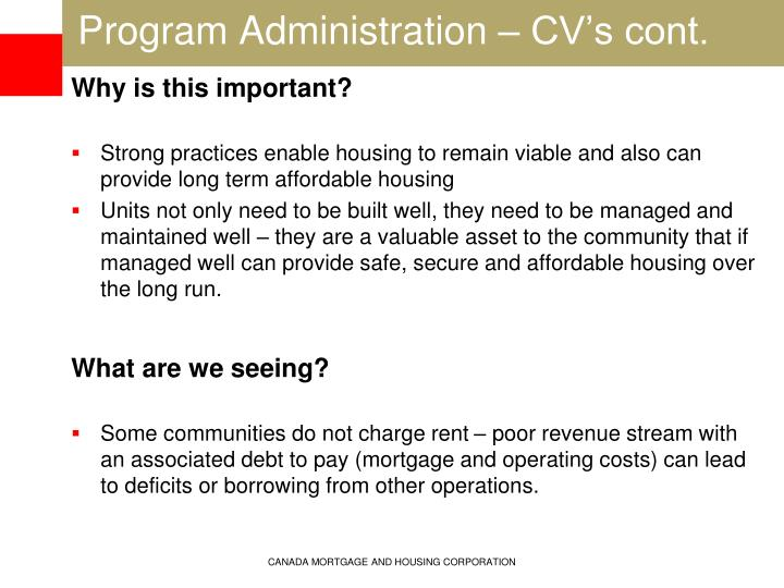 Program Administration – CV's cont.