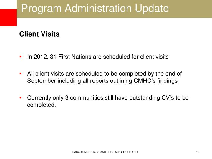 Program Administration Update