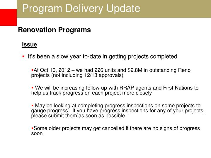 Program Delivery Update