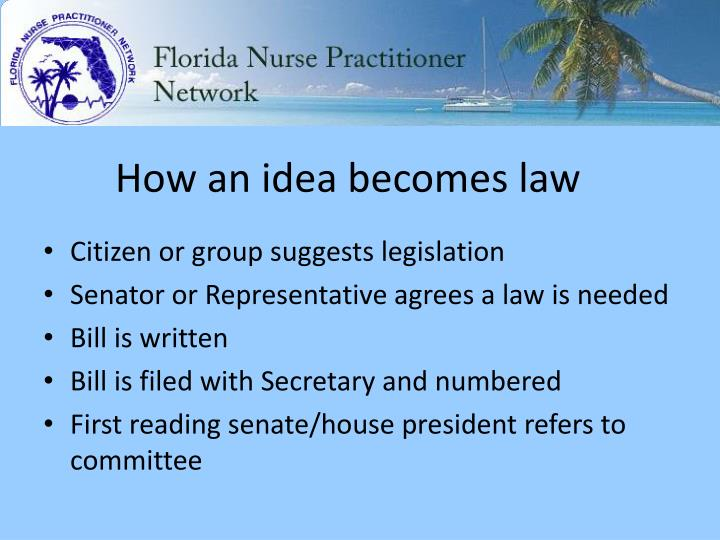 How an idea becomes law