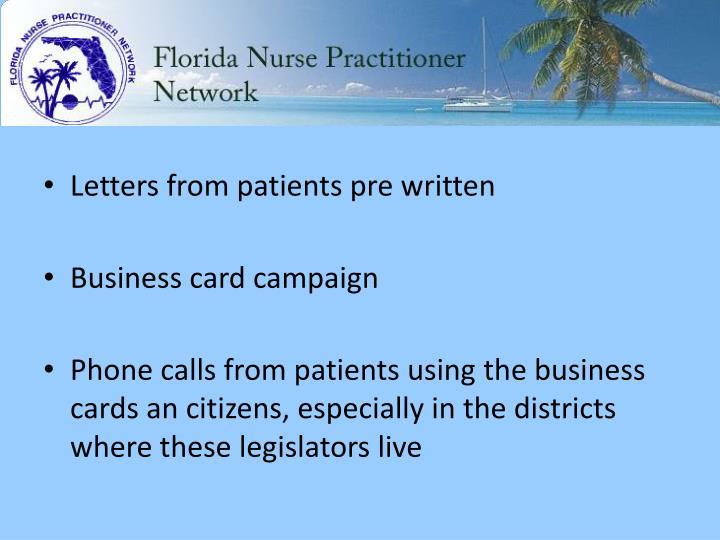 Letters from patients pre written