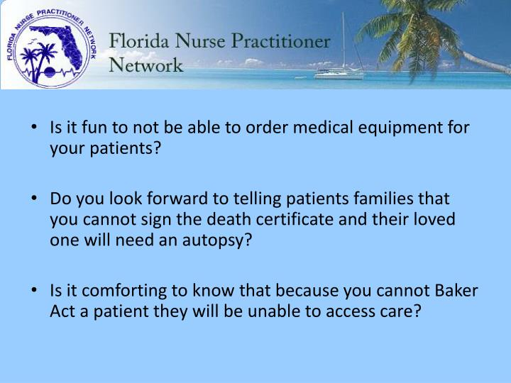 Is it fun to not be able to order medical equipment for your patients?
