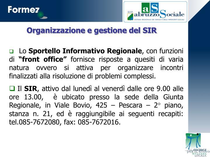Organizzazione e gestione del SIR