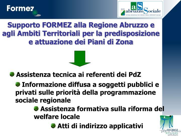 Supporto FORMEZ alla Regione Abruzzo e agli Ambiti Territoriali per la predisposizione e attuazione dei Piani di Zona