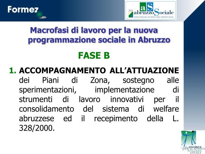 Macrofasi di lavoro per la nuova programmazione sociale in Abruzzo