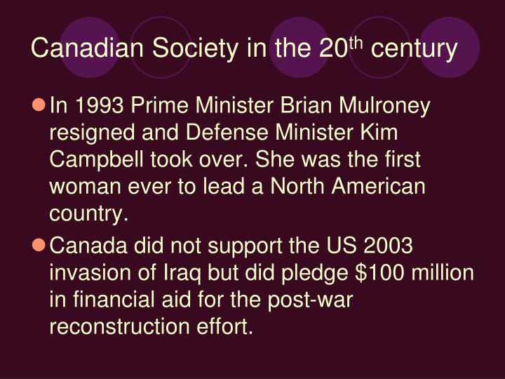 Canadian Society in the 20