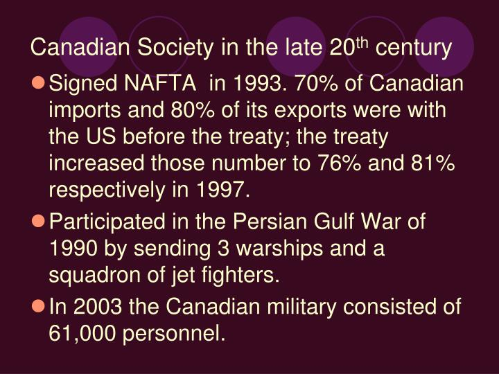 Canadian Society in the late 20