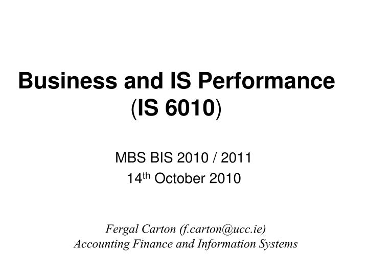 Business and IS Performance