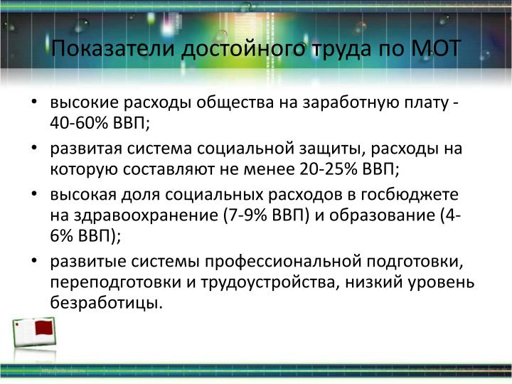 Показатели достойного труда по МОТ