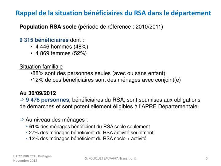 Rappel de la situation bénéficiaires du RSA dans le département