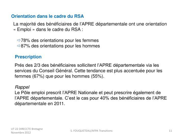 Orientation dans le cadre du RSA