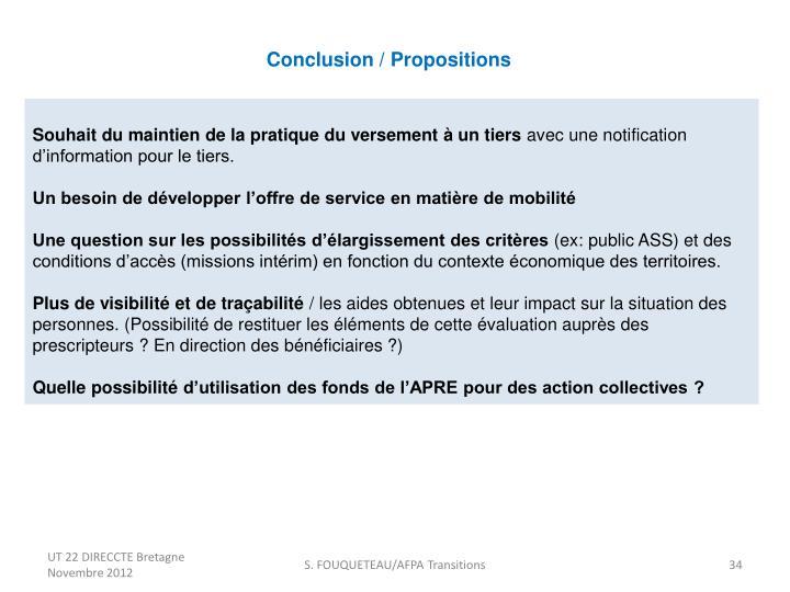 Conclusion / Propositions