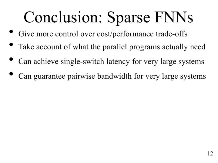Conclusion: Sparse FNNs