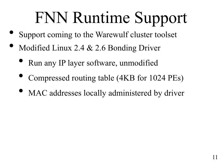 FNN Runtime Support