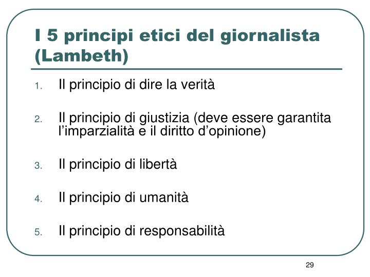 I 5 principi etici del giornalista