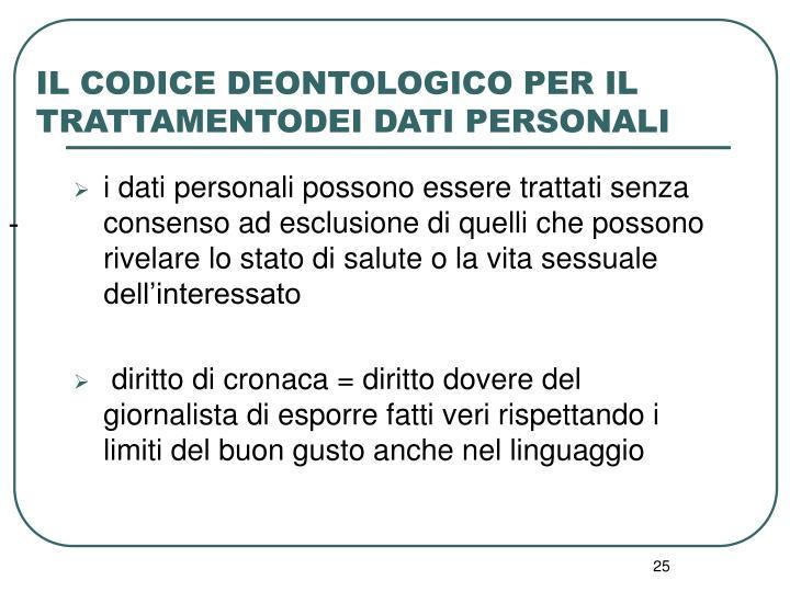 IL CODICE DEONTOLOGICO PER IL TRATTAMENTODEI DATI PERSONALI