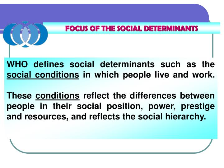 FOCUS OF THE SOCIAL DETERMINANTS