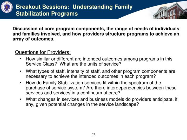 Breakout Sessions:  Understanding Family Stabilization Programs