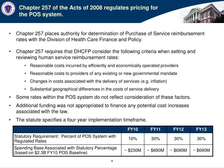 Chapter 257 of the Acts of 2008 regulates pricing for the POS system.