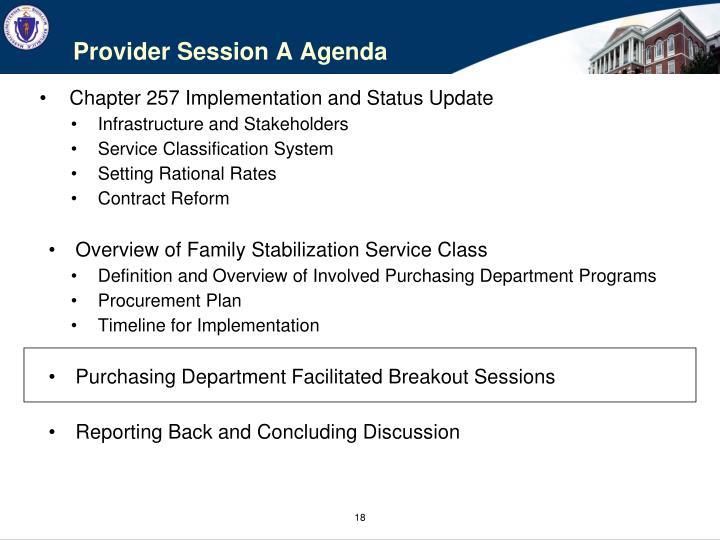 Provider Session A Agenda