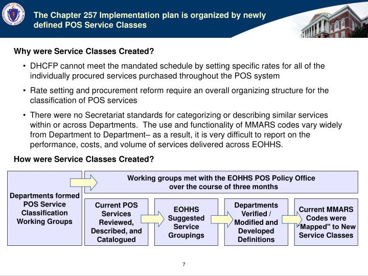 The Chapter 257 Implementation plan is organized by newly defined POS Service Classes