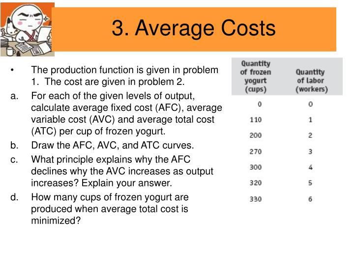 The production function is given in problem 1.  The cost are given in problem 2.