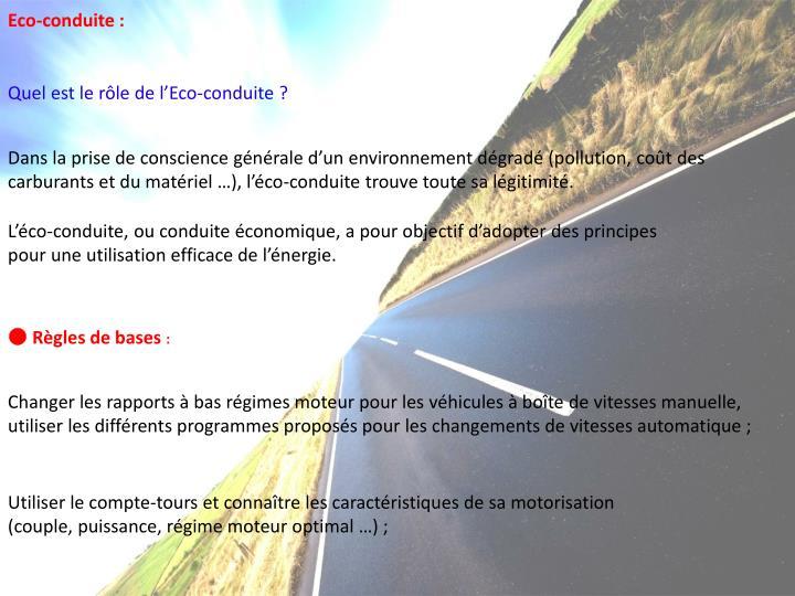 Eco-conduite :