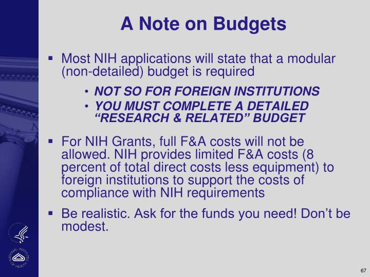 A Note on Budgets
